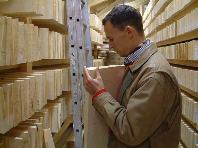 Selecting from the finest tonewood. Woodbuying tour to the Swiss Alps in 2006